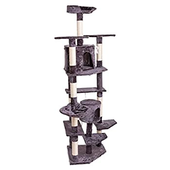 80  Solid Cat Tree Condo Tower Kitten Furniture Activity Center Pet Kitty Play House with Sisal Scratching Posts Gray