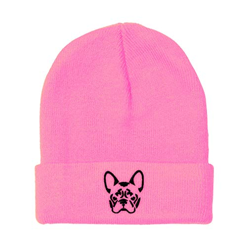 Custom Beanie for Men & Women French Bulldog Silhouette Embroidery Acrylic Skull Cap Hat Soft Pink Design Only