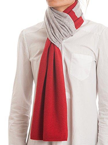 DALLE PIANE CASHMERE - Zweifarbiger Schal aus 100prozent Kaschmir - für Mann/Frau, Farbe: Rot, Einheitsgröße