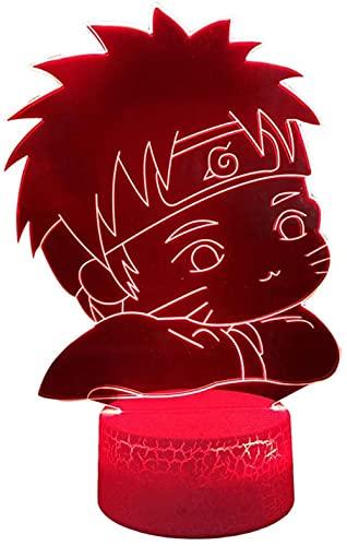 A-Generic LED luz Nocturna 3D Creativo 3D ilusión Ataque Titanes Regalo de cumpleaños para niños Hombre Amigos con Remoto 16 Colores cambiantes-Naruto Tiene