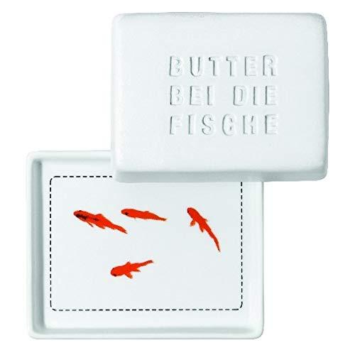 Breakfast Butterdose, klein Butter bei die Fische, Platte: 10 x 8 x 1 cm Deckel: 9 x 7 x 5 cm