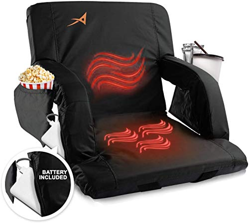 Heated Stadium Bleacher Seat – USB Battery Included - Foldable & Adjustable Chair - Foam Cushion, Back & Arm Support, 4 Pockets for Snacks, Cup Holder - for Camping, Outdoors, Indoor, Games & Sports
