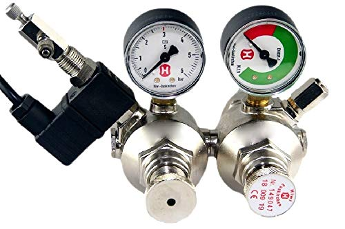 Hiwi Doppelkammer CO2 Druckminderer mit MV + RV