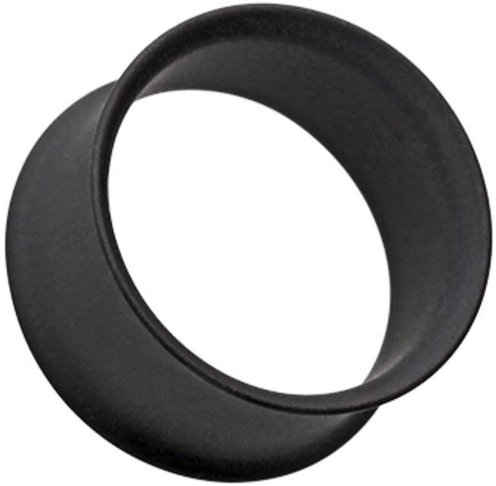 Covet Jewelry Matte Black Steel Double Flared Ear Gauge Tunnel Plug