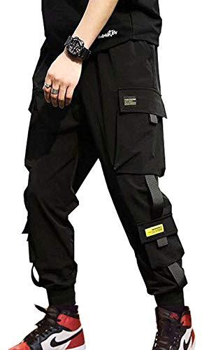 Streetwear Hip Hop Pants Cargo Pants Joggers for Men Couple Women Unisex Sports Casual Active Sweatpants Black-09 Large