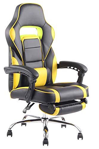 CLP Poltrona Gaming Reclinabile Fuel In Similpelle I Sedia Racing Corsa Con Poggiapiedi Estraibile, Colore:nero/giallo