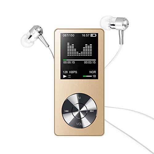 lecteur MP3, Elinker MP3Lecteur MP4avec haut-parleur intégré, écran 4,6cm 8Go Portable Lossless son 45heures de lecture, radio FM, vidéo, E-Book support extensible jusqu'à 128Go MP3Lecteur de musique