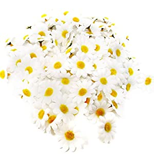 Silk Flower Arrangements HONBAY 100PCS 4cm/1.57inch Fabric Daisy Flower Heads Artificial Fake Flowers Heads for Wedding Party Decorations (White)