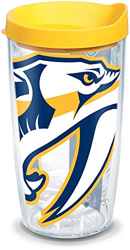 Tervis NHL Nashville Predators Colossal Tumbler with Wrap and Yellow Lid 16oz, Clear