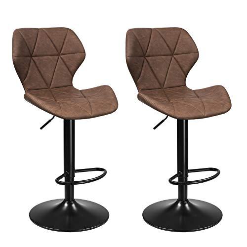 SONGMICS Barhocker, 2er Set Barstühle, Küchenstühle mit stabilem Metallgestell, Stühle mit Kunstlederbezug, Fußstütze, Sitzhöhe verstellbar, einfache Montage, Vintage, dunkelbraun LJB071K01