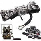 Iriisy Cuerda sintética para cabrestante de 6 mm x 15 m, 3,5 T, cuerda para cabrestante para SUV, ATV, UTV, todoterreno, camión, barco, color gris