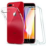KEEPXYZ Funda para iPhone 7 Plus, iPhone 8 Plus + 2 Pcs Protector de Pantalla para iPhone 7+ 8+ Cristal Templado, Flexible Silicona Transparente TPU Carcasa + Vidrio Templado para iPhone 7 Plus 8 Plus
