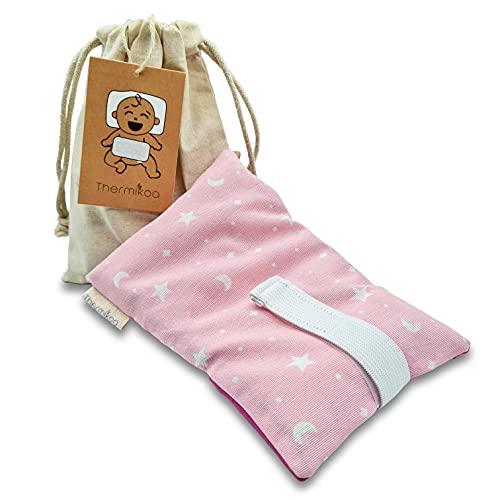 Cinturón Anticólicos Bebé Ajustable - Fajita de Saco Térmico de Semillas Para Aliviar el Dolor de Cólicos. 19x12 cm - Saco Cinturón Cólicos Bebé con Funda Lavable (Thermikoa) (Rosa)