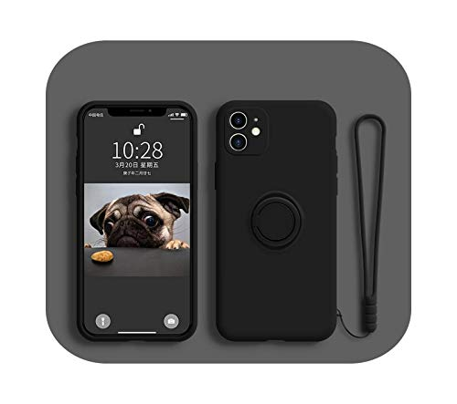 Funda de silicona líquida suave para iPhone 12 Pro 11 Pro Max XS X 7 8 6 6S XR SE 2020 soporte de anillo de soporte para manos delgadas cubierta de correa de manos negra-para iPhone X o XS