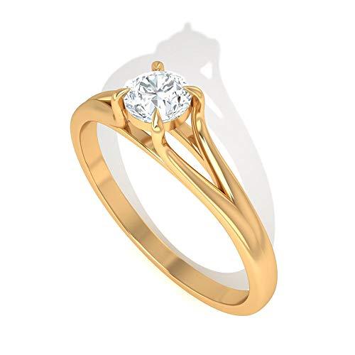 Antiker 0,25 Karat Solitär IGI zertifizierter Diamant Verlobungsring, Brillantschliff 4 Zinken IJ-SI Diamant Braut Ehering Jahrestag Versprechen Ringe, 14K Gelbes Gold, Size:EU 66