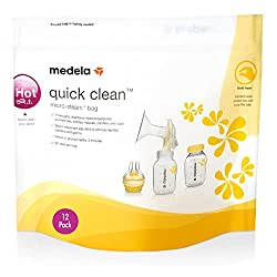 official product image of medela quick clean microsteam bags with text overlay 12 pack on a white background