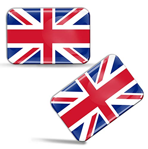 Biomar Labs® 2 x Aufkleber 3D Gel Silikon Stickers Großbritannien England UK Great Britain Union Jack Flagge Fahne Flag Auto Motorrad Fahrrad Fenster Tür PC Handy Tablet Laptop F 32