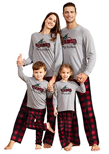 Yaffi Matching Family Pajamas Sets Christmas PJ's Sleepwear Merry Christmas Truck Driving Top and Plaid Pants for Kids & Adult Kids: 3-4 Years
