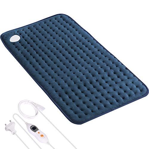 Elektrisches Heizkissen mit Abschaltautomatik und 6 stufige Temperaturstufen Wärmekissen für Rücken Nacken Schulter Schnell Heiztechnik und Weicher Plüsch 30 * 60 cm (Blau)