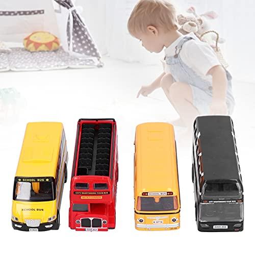 Fournyaa Sistema del autobús del Juguete, Juguetes Decorativos plásticos del Coche del tirón hacia atrás Regalos de cumpleaños((4 Piece Set))