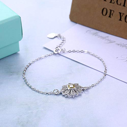 Bracelet En Argent Femme 925,Bracelet En Argent Femme 925,S925 Silver Fashion Bracelet Fleur Soleil Polyvalent Avec Perle Zircon Tempérament Simple Réglable Bracelet Bracelet Bijoux Accessoires Vêt