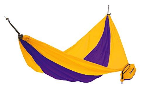 KingCamp – Hamac de Jardin Parachute – 270 * 130cm - Charge Max. 100 kg – Coloris Jaune/Violet