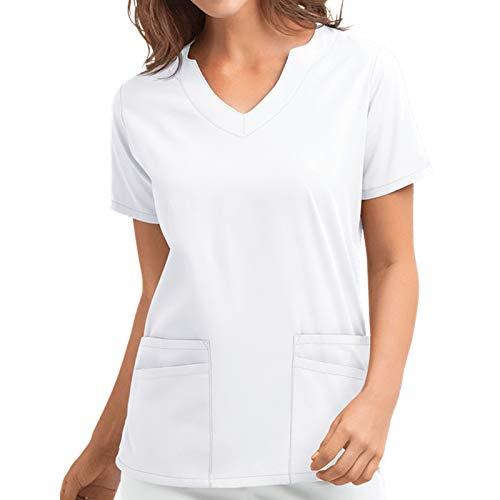 Briskorry Casaca para mujer, cuello en V, unisex, manga corta, para enfermeras, ropa de cuidado de un solo color, Blanco-2, XL