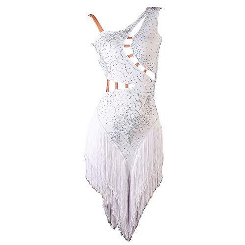 NAKOKOU Robe de danse latine sexy pour femme avec pompons et dos nu (blanc, S)