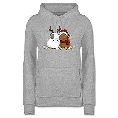 Weihnachten & Silvester - Weihnachtliche Meerschweinchen - XS - Grau meliert - Weihnachts Pulli Frauen - JH001F - Damen Hoodie und Kapuzenpullover für Frauen