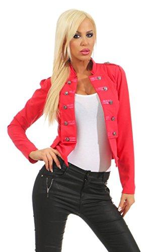 Fashion4Young 10218 Damen Kurzjacke Blazer Jäckchen Jacke Army-Look Military-Style Stehkragen (Coral, S/M=34/36)