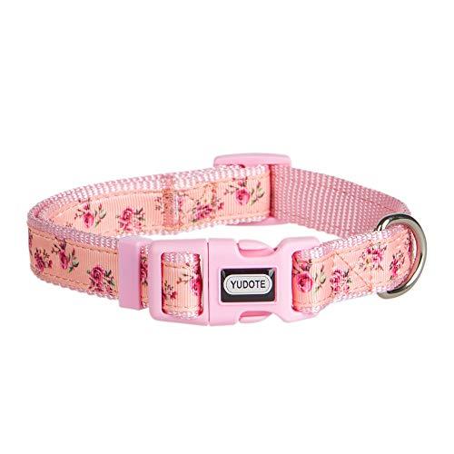 YUDOTE Spring Flower Dog Collars, Adjustable Pink Collar for Girl Dogs, Cute Designer Puppy Collar, Medium, Neck 12'-19'