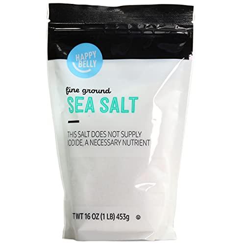 Amazon Brand - Happy Belly Sea Salt, Fine Ground, 16 Ounces