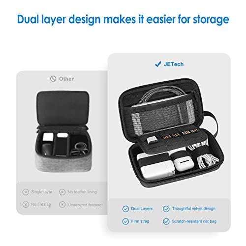 JETech Reise Gadget Tasche, Klein Elektronikzubehör Organizer Reise Kleinteil Tragetasche, Doppelreißverschluss, Tragegurt, Grau