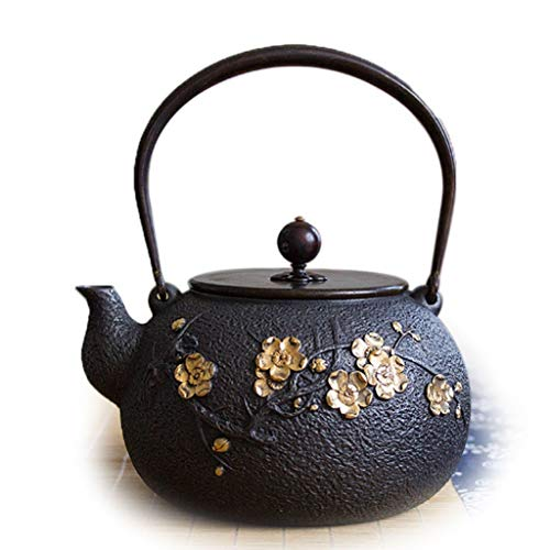 Cast Iron Teapot Japanese Tea Kettle Black 1.3L Family boiling Water Kung Fu Tea Teapot Handmade Chinese Collection Health Gift