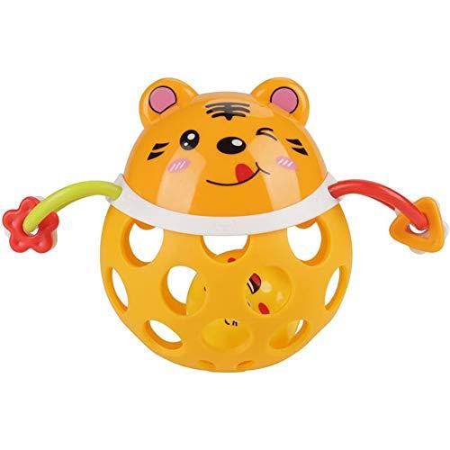 Cestbon Cadeaux Main de Bell Jouet éducatif pour Les Enfants Enfants Pack bébé de 2 Tread Crécelle Toy Bague,Orange