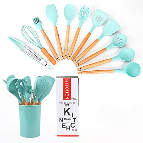 Kitchen Utensil Set Silicone Cooking Utensils 12Piece - Cooking Utensils Set with Bamboo Wood Handles for Nonstick Cookware,Turner Tongs Set,Green