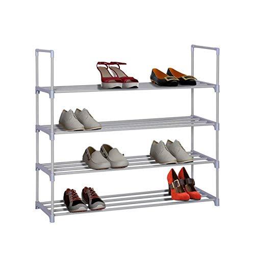 Zapatero de 4 capas, apilable, compacto, marco de metal resistente y duradero, 20 pares de zapatos fácilmente encontrar tus propios zapatos (color: blanco, tamaño: 35.6 x 33.27 x 12 pulgadas)