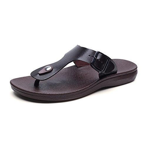 ZGYQGOO Sommer Männer Schuhe Mode Herren Flip Flops Trendy Anti-Slip Leder Männer Freizeitschuhe Klassische Massage Strand Hausschuhe