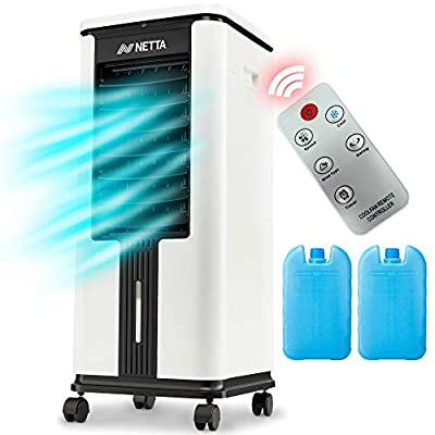 NETTA Portable Air Cooler/Purifier with Remote Control and LED Display, 3 Fan Speeds with Oscillation Function, 12 Hour Timer and 7 Litre Water Tank Supplied with 2 Ice Packs