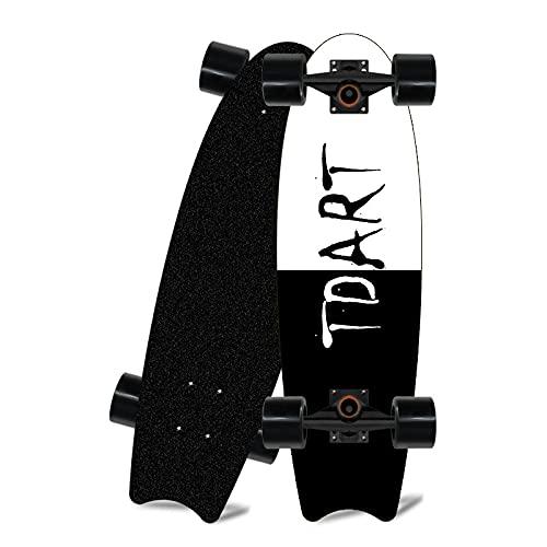 Cnlololog Robusta tabla de surf Maple Land, patrón artístico para principiantes, TD, soporte giratorio, sin necesidad de pisar el suelo, cepillando la calle, simulando una sola tabla Big Fish inclinad