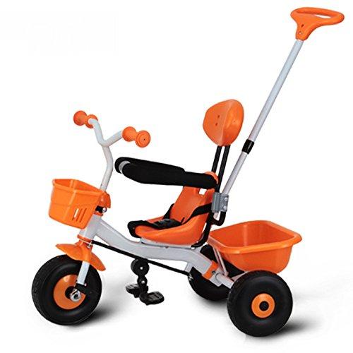 LZTET Kinderwagen Dreirädrige Kinderwagen Metall 72cm * 50cm * 100cm Push + Pedal Kinderwagen (Farbe: Orange)