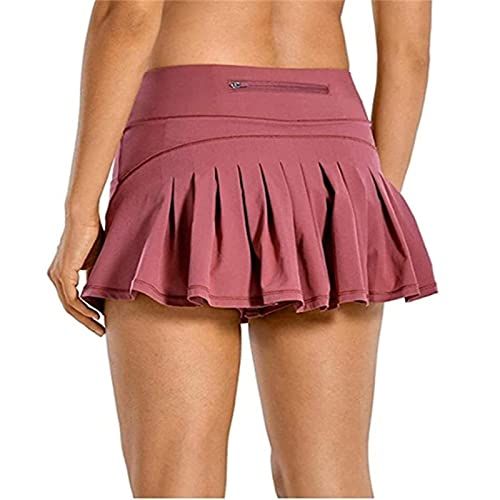 Women High Waist Sport Shorts,with Pocket,Three-Point Sports Pants Skirt,Knickers Stretchy The Best Gift for Short Skirt Lovers, Comfortable and Breathable M pink
