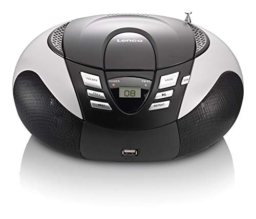 Lenco Radio mit CD/MP3-Player SCD-37 Tragbares UKW/MW Radio mit USB (Teleskopantenne, USB), silber