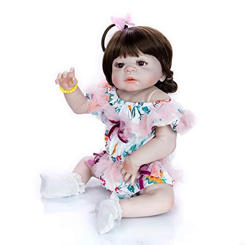 23 Pulgadas Bebes Reborn Girl Doll Vinilo De Silicona Completa Reborn Baby Bonecas Infantil Meninas Niño Bebe Alive Dolls Gift,Brown Eyes