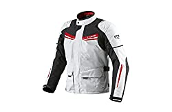Jet Motorradjacke Herren Mit Protektoren Textil Wasserdicht Winddicht Aquatex (3XL (EU 56-58), Weiß Rot)