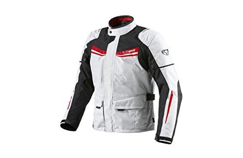 Jet Motorradjacke Herren Mit Protektoren Textil Wasserdicht Winddicht Aquatex (L (EU 50-52), Weiß Rot)