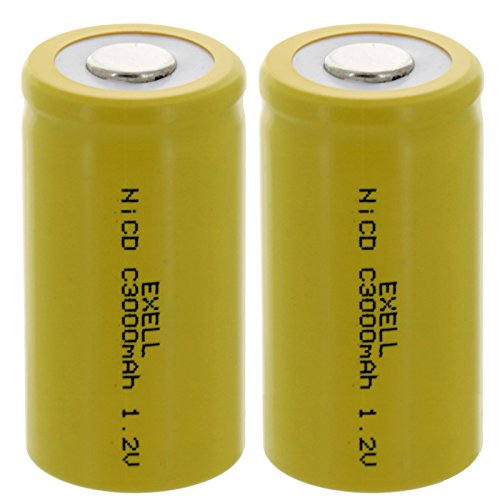 2x Exell C Size 1.2V 3000mAh NiCD Flat Top Rechargeable Batteries for meters, radios, hybrid automobiles, high power static applications (Telecoms, UPS and Smart grid), radio controlled devices