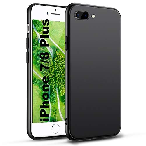 Für iPhone 8 Plus Hülle iPhone 7 Plus Handyhülle Schwarz Silikon Case Kompatibel mit iPhone 7/8 P, Ultra Dünn Schwarz Weich Handyhülle Stoßdämpfend Anti Scratch Schutzhülle, Black