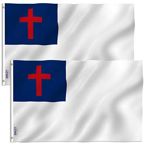 ANLEY Pacote de 2 Bandeira Cristã Fly Breeze 3x5 Foot - Cores vivas e resistente ao desbotamento UV - Cabeçalho de lona e costura dupla - Bandeiras religiosas de poliéster com ilhós