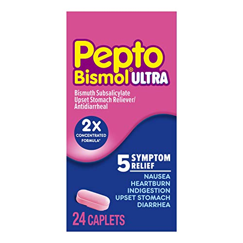 Pepto Bismol Ultra Caplets, 24 Tablets, for Relief of Gas, Anti Diarrhea, Heartburn, Nausea, Upset Stomach, and Indigestion